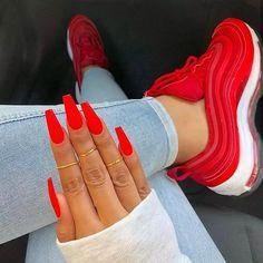 Cute Red Nails, Gorgeous Nails, Pretty Nails, Bright Red Nails, Yellow Nails, Red Tip Nails, Bright Orange Nails, Lime Green Nails, Long Red Nails