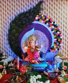 Housewarming Decorations, Diy Diwali Decorations, Backdrop Decorations, Festival Decorations, Paper Decorations, Flower Decorations, Flower Decoration For Ganpati, Ganpati Decoration Design, Gauri Decoration