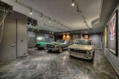 Contemporary Garage with slate tile floors, flush light, High ceiling Garage Lighting, Flush Lighting, Track Lighting, Garage Design, House Design, Building A Garage, Car Garage, Overhead Garage Storage, Car Barn