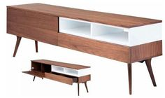 American walnut media unit with 3 different storage areas