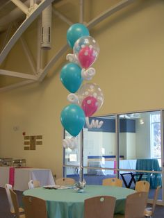 "Balloon Centerpiece of 5, 16"" latex with curly-Qs on a wrapped weight"