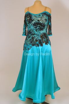 Jade Green Satin with Black Velvet Lace, Blue Zircon AB and Jett AB Crystals (Front)