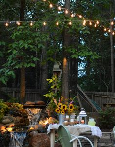 Garden party! Light up your summer nights for a backyard soiree or a family dinner. Blogger Robin of All Things Heart And Home set up a DIY outdoor lighting system--you can, too. Just click through for details.