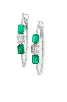 A Pair of Emerald and Diamond Earrings JEWELS AND JADEITE 14 Mar 2018, 14:00 HKT HONG KONG, ADMIRALTY