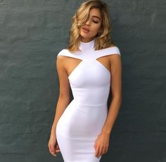 Cheap bandage dress, Buy Quality women dress directly from China party dresses Suppliers: New Bandage Dress 2018 Celebrity Evening Party Dress Vestidos Sexy Off The Shoulder Halter White khaki black Club Women Dresses Tight Dresses, Sexy Dresses, Cute Dresses, Beautiful Dresses, Short Dresses, Halter Dresses, Strapless Dress, Bandage Dresses, Midi Dresses