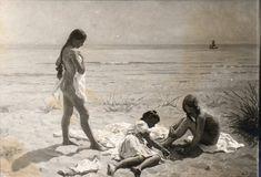 Maleri af Laurits Tuxen: Sommerdag på Skagen strand med figurer. 1907 (Yvonne Tuxen, Nina Tuxen, Vibeke Kroyer)