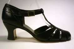 Remix Vintage Shoes, Balboa T-Strap Heel in Black Leather