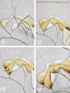 Magnolia Stitch Along Part 4 Embroidery On Clothes, Learn Embroidery, Hand Embroidery Patterns, Embroidery Stitches, Crazy Quilt Stitches, Needlepoint Stitches, Needlework, Japanese Patterns, Quilt Stitching