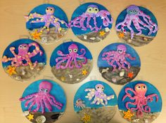 Clay octopus on wood w/sand-elementary art(art teacher: v. giannetto)
