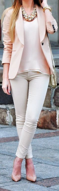 light pink coat white pant and light pink shirt