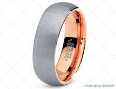Mens Tungsten Carbide Wedding Band Ring 7mm 18k Rose Gold Plated Domed High Polished 5-15 Half Sizes Traditional Comfort Fit Custom Engraved