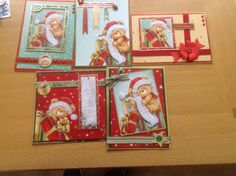 5 christmas cards made from one Hunkydory set