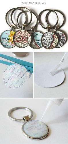 15 Fabulous DIY Keychain Tutorials You can add some colors and fun to your keys by creating your own keychain. Clay, leather, wood, or Map Crafts, Resin Crafts, Craft Gifts, Diy Gifts, Handmade Gifts, Resin Jewelry, Handmade Jewelry, Handmade Keychains, Diy Accessoires