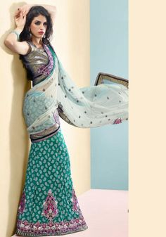 Teal Blue And Pale Cream Brocade And Net Lehenga Saree 16080 With Unstitched Blouse