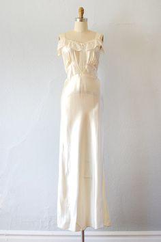 vintage 1930s ivory satin bias cut lace gown