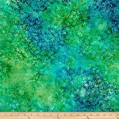 """Tonga Batiks 106"""" Wide Viney Leaf Lagoon from @fabricdotcom  Designed for Timeless Treasures, this fabric is perfect for quilting, apparel and home décor accents. Colors include teal, turquoise, lime, green, ivory and blue."""