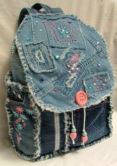 Sewing Backpack Recycled Denim 46 New Ideas Denim Backpack, Denim Purse, Backpack Purse, Diy Jeans, Jean Crafts, Denim Crafts, Artisanats Denim, Mochila Jeans, Jean Diy