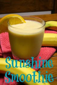 Sunshine Protein Smoothie 1 cup orange juice 1 frozen banana 2 scoops vanilla protein powder (here's my favorite)  ice Directions Add everything to the blender and blend until smooth.