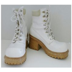 Rave White Boots size 8.5 White boots, lace up - size 8.5, used condition, has some wear and faux leather around the top is peeling Rave Shoes Lace Up Boots
