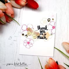 Good morning! Jess here from All the Sparkle to share a pair of cards using the gorgeous Life is Lovely and Butterfly Jar sets. I thought the two sets would play well together and they definitely did not disappoint! I decided to use a simple summery color palette with bold pops of black and gold. I started by stamping the flowers from Life is Lovely in three shades of pink and peach. I started by stamping the largest flowers first and then filled in with the smaller flowers to create…