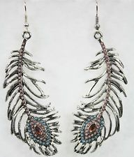 Jumbo huge metal peacock feather dangle drop earrings silver inlaid gems avian