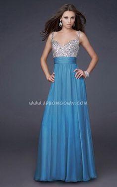 Full Length La Femme 16802 Ocean Blue Jeweled Cocktail Dress