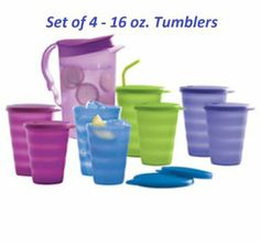 Tupperware Impressions 16-oz. /500 Ml Tumblers Set of 4 New