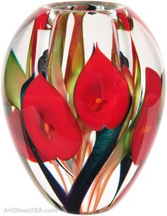 Scott Bayless of Lotton Studios - Art Glass Calla Lily vases Blown Glass Art, Art Of Glass, Stained Glass Art, Glass Ceramic, Mosaic Glass, Glass Paperweights, Glass Vase, Cut Glass, Wine Glass
