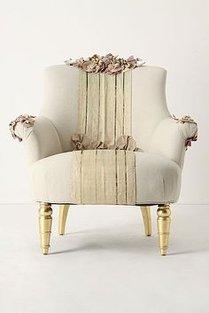 Helene Florence's upholstered chair is embellished with a vintage obi, flowers constructed of vintage Japanese kimono fabric, Louisiana oyster shells, and vintage jewelry. Painted Furniture, Home Furniture, Furniture Design, Living Pequeños, Living Room, Love Chair, Cafe Chairs, Restaurant Chairs, Lounge Chairs