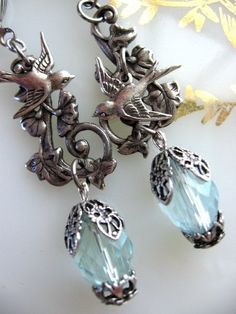 Leafy Vine and Swallow Earrings in Silver - Choose Color. $24.00, via Etsy.