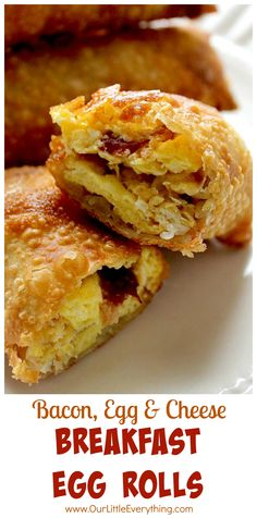 Breakfast Egg Rolls are a fun way to switch things up for breakfast! Fun for kids, but delicious for grown ups as well! Filled with eggs, cheese and meat!