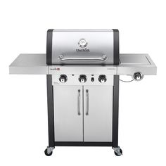 Char-Broil Commercial TRU-Infrared Stainless and Black 3-Burner (25,500-BTU) Liquid Propane Gas Grill with Side Burner