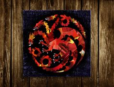 Game of Thrones Wall Art Print, Targaryen Art, Christmas gift ideas unique holiday gift poster, Mixed media dragon Cyber Monday