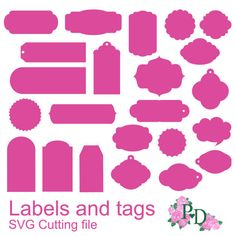 SVG Label tag diecutting, Cutting files, Die Cut for Silhouette Cameo cutter scrapbooking cardmaking laser instant download  EasyCutPrintPD #handmade #silhouettecameo
