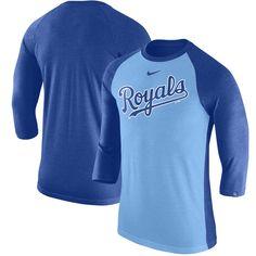 ca2f2955da39 Men s Kansas City Royals Nike Royal Wordmark Tri-Blend Raglan 3 4-Sleeve T- Shirt