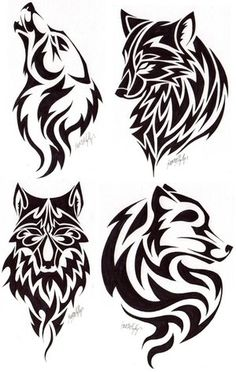 various tribal wolf heads