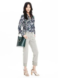 Our Dillon-Fit blouse skims your shape for a relaxed (but put-together) silhouette. This blue, pink and green summer lilac floral print shirt will add texture and color to your spring wardrobe   Banana Republic