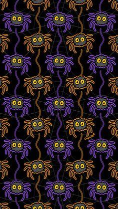 Spider Pattern by Casper Spell - Halloween Wallpaper Holiday Wallpaper, Halloween Wallpaper Iphone, Fall Wallpaper, Halloween Backgrounds, Theme Halloween, Halloween Patterns, Creepy Halloween, Halloween Designs, Halloween Costumes