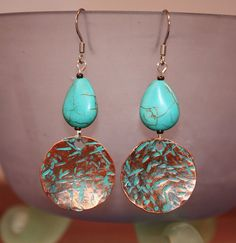 A little bit of Turquoise earrings — Designs The Wright Way Metal Jewelry, Custom Jewelry, Beaded Jewelry, Silver Jewelry, Handmade Jewelry, Gold Jewellery, Earrings Handmade, Silver Ring, Jewelery