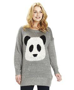 """Angel Ribbons"" Angel Ribbons Sequinned Panda Sweater at Simply Be"