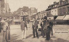 Les petits métiers du Paris d'antan L'attrape-mouches... (vieille carte postale, vers 1900)