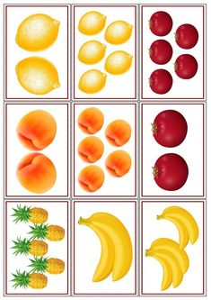 Vamos a contar: fruta, transporte, muebles | Mírame y aprenderás Preschool Centers, Kindergarten Activities, Food Pyramid Kids, Construction Paper Crafts, Fruits Images, File Folder Games, Food Themes, Kids Education, Fruits And Vegetables