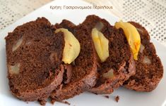 Κέικ με αχλάδια και σοκολάτα - cretangastronomy.gr Caramel, Desserts, Food, Cakes, Sticky Toffee, Tailgate Desserts, Candy, Deserts, Mudpie