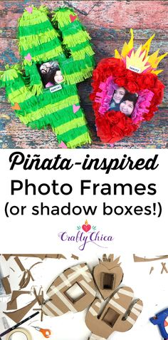 Piñata Craft: Photo frames by Crafty Chica