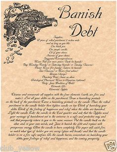 BANISH DEBT Real Witchcraft Spell Book of Shadows Page BOS Pages Wicca