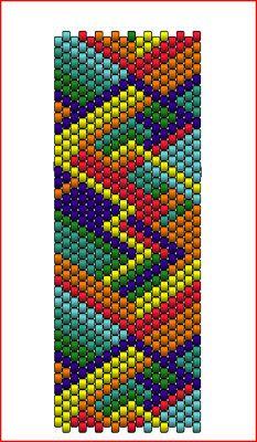 Paula's Treasure Chest: Rainbow Jewel Cuff Bracelet - Paula's Treasure Chest: Rainbow Jewel Cuff Bracelet - Peyote Beading Patterns, Peyote Stitch Patterns, Beaded Bracelet Patterns, Bead Loom Patterns, Loom Beading, Bead Loom Bracelets, Motifs Perler, Beaded Banners, African Prints