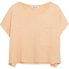 Elizabeth and James Sia cropped slub-cotton T-shirt ($15) ❤ liked on Polyvore featuring tops, t-shirts, shirts, crop tops, orange, crop t shirt, peach t shirt, beige shirt, crop shirts and tee-shirt