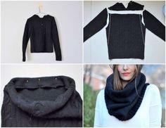 Come riciclare dei vecchi maglioni - Scaldacollo nero da vecchio maglione