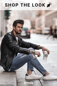 We selected the best outfits for men using leather jackets and we created an article in a shop the look format. for men Leather jacket men style Portrait Photography Men, Photography Poses For Men, Photography Styles, Best Poses For Men, Mens Photoshoot Poses, Stylish Men, Men Casual, Leather Fashion, Mens Fashion