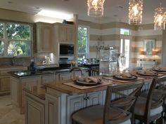 Kitchen. Marble, juliska Florence pendants, stripped walls